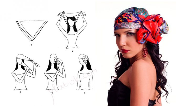Смелое решение с шарфиком на голове