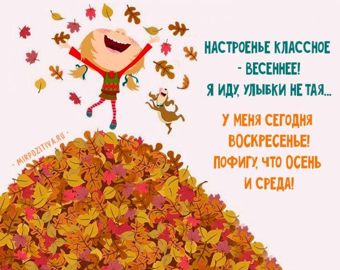 смешно про осень Настроенье классное - весеннее! Я иду, улыбки не тая. У меня сегодня ВОСКРЕСЕНЬЕ! Пофигу, что ОСЕНЬ и среда.