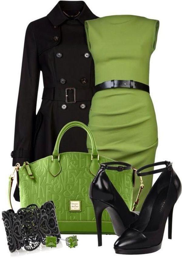 Сочетание черного и зеленого в одежде
