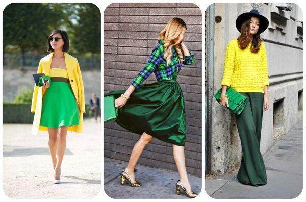 Сочетание коричневого и зеленого в одежде