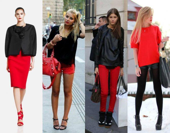 сочетание красного и черного в женской одежде
