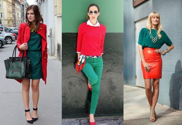 Сочетание красного и зеленого в одежде