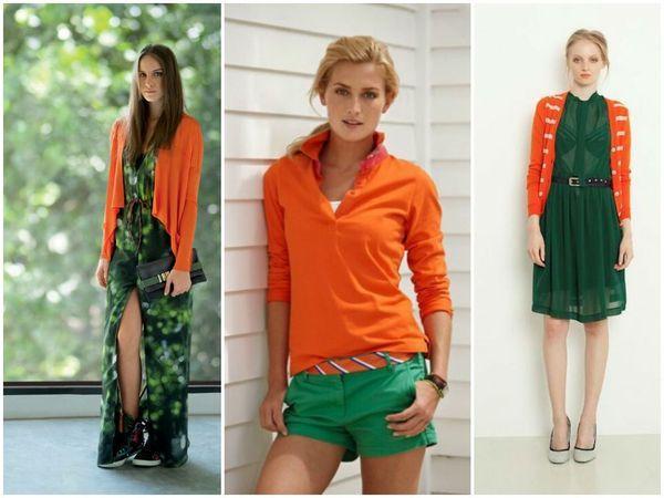 Сочетание оранжевого и зеленого в одежде