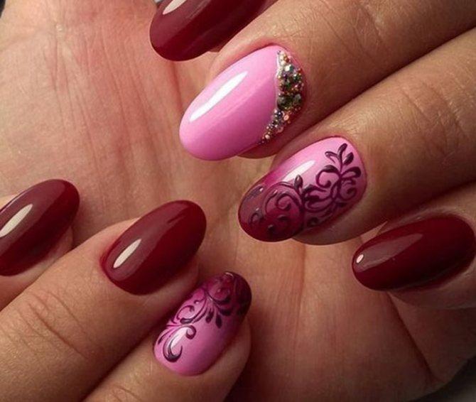 Сочетание с розовым, вензеля