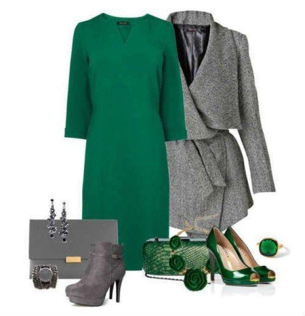 Сочетание серого и зеленого в одежде