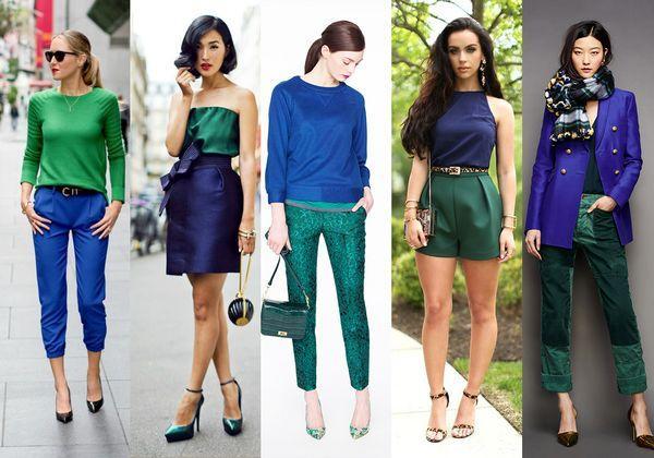 Сочетание синего и зеленого в одежде