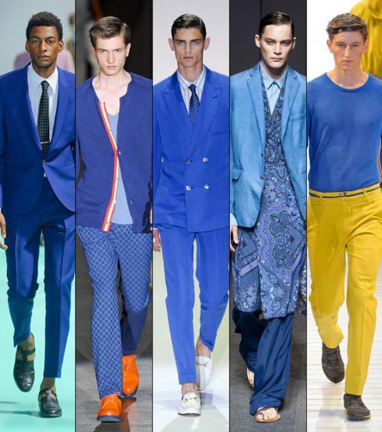 сочетание синего с другими цветами в одежде