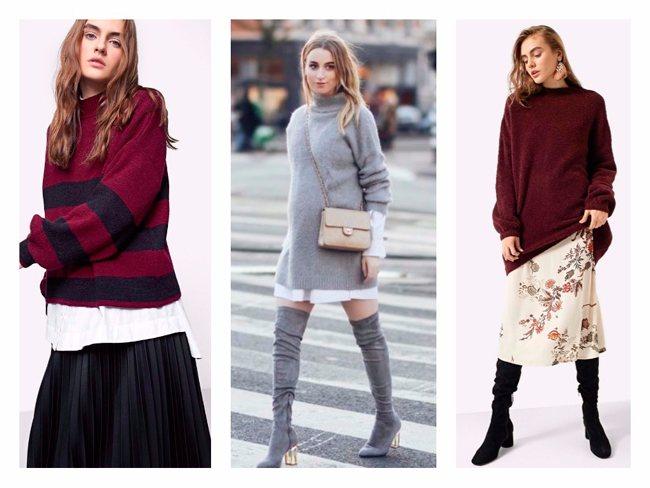 Сочетание свитера и юбки