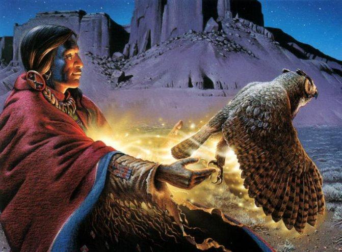 сова и индеец (327x500, 35Kb)