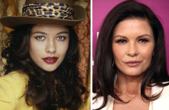 Сравните фото Кэтрин Зета-Джонс в молодости и сейчас