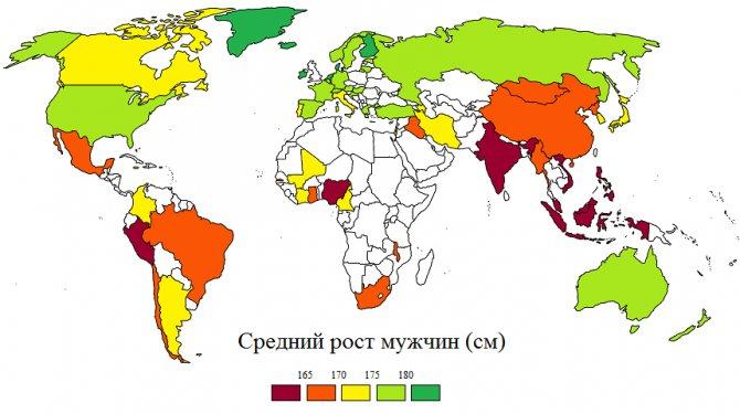 Средний рост мужчин в мире
