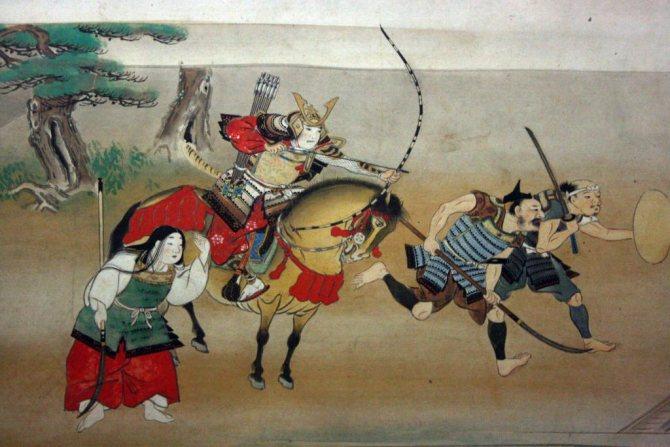 Старинный японский рисунок с самураями