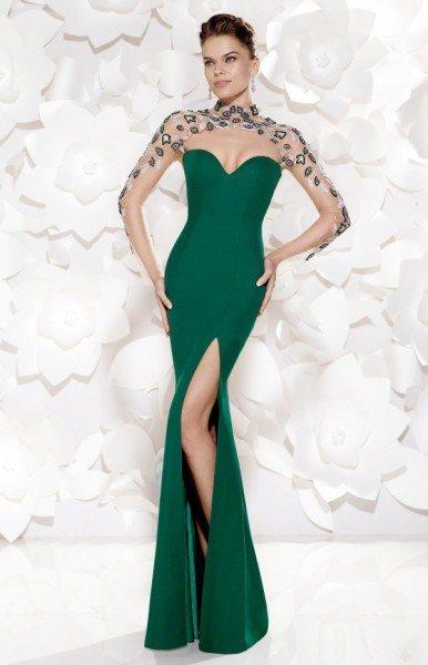 Стильное вечернее платье зеленого цвета