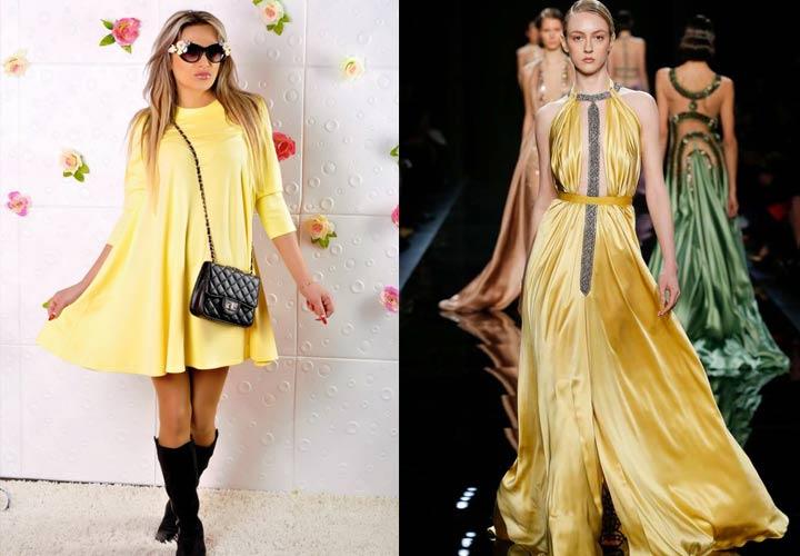 Стильное желтое платье для встречи Нового Года