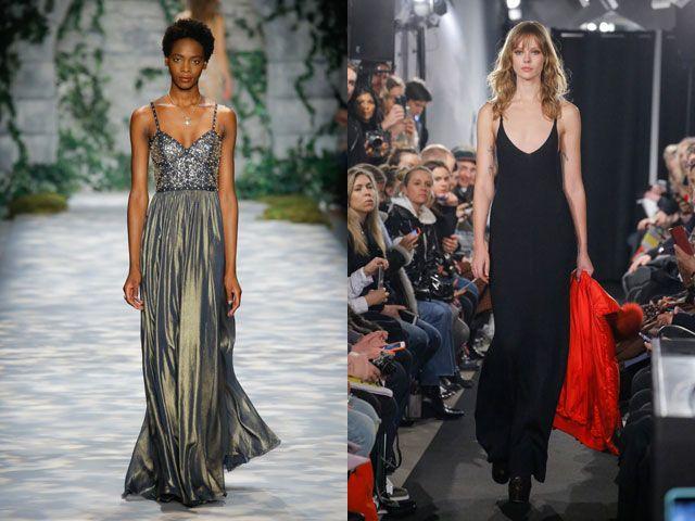 Стильные вечерние платья на тонких бретельках осень-зима 2019-2020