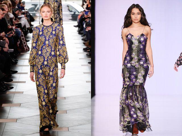 Стильные вечерние платья с модным принтом осень-зима 2019-2020