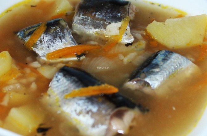 Суп из сайры с рисом и картошкой