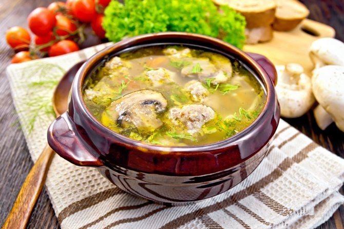 Суп с шампиньонами и свининой рецепт