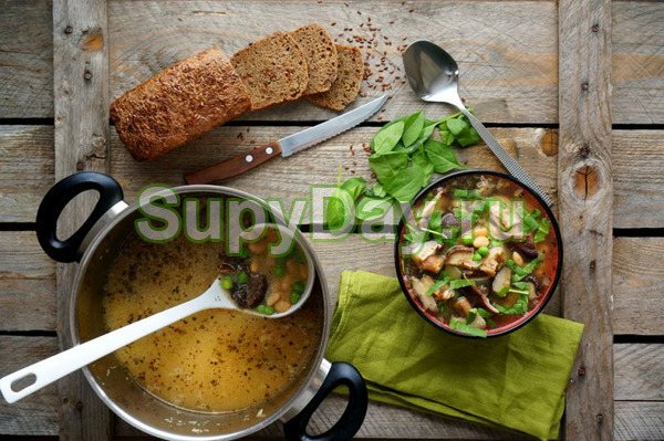 Суп с уткой, фасолью и сушеными грибами