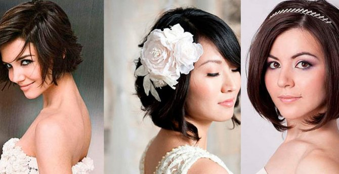 Свадебные прически на короткие волосы: игривость локонов и строгость прядей