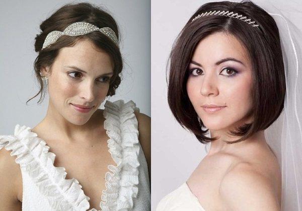 Свадебные прически на короткие волосы с фатой, челкой и без. Фото, как сделать, украшения