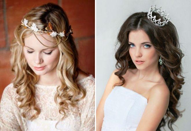 свадебные прически на распущенные волосы с диадемой