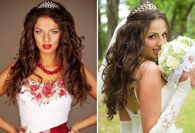 свадебные прически распущенные волосы с диадемой