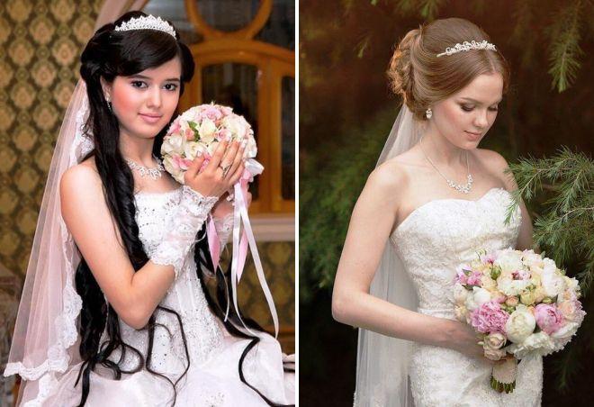 свадебные прически с длинной фатой и диадемой