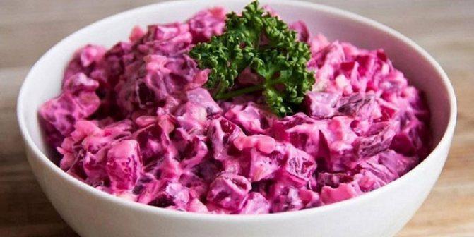 Свекольный салат с кефиром