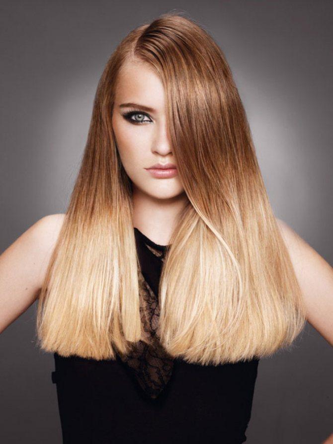 Светлое омбре на волосы тепло-русого оттенка