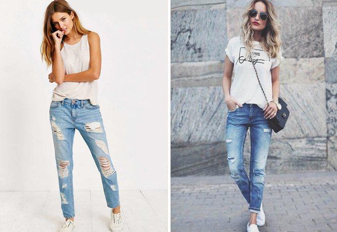 светлые потертые джинсы