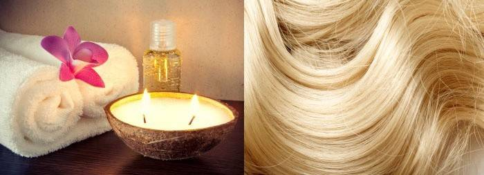 Светлые волосы, полотенца, свеча и масло