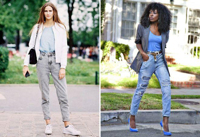 свободные джинсы на высокой талии