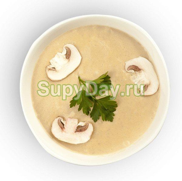 Сырный суп-пюре с курицей и грибами