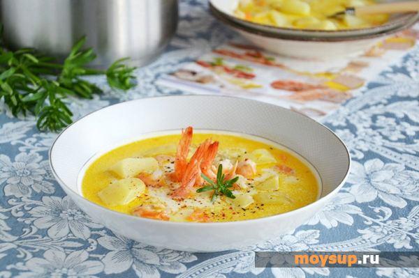 Сырный суп со сливочным сыром и креветками