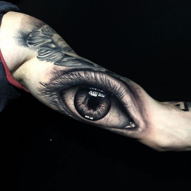 Тату Большой Глаз на Руке в Стиле Реализм