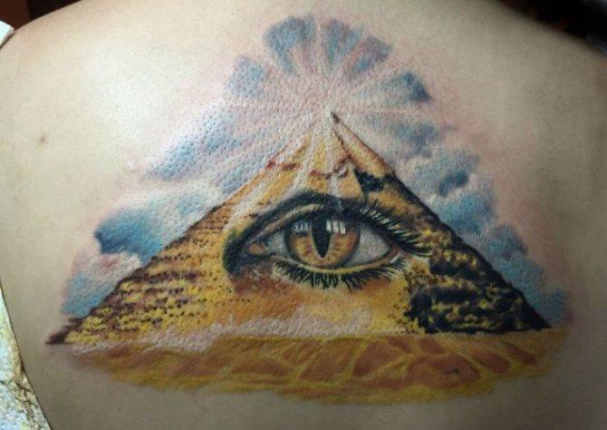 Тату с масонской пирамидой или треугольником