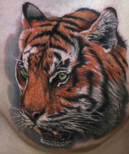 Тату с мордой тигра