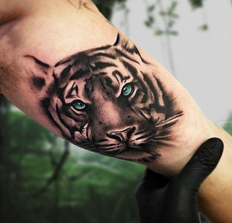 Тату с тигром на руках