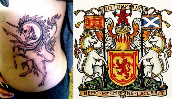 Тату шотландский национальный символ единорог, и рисунок герба