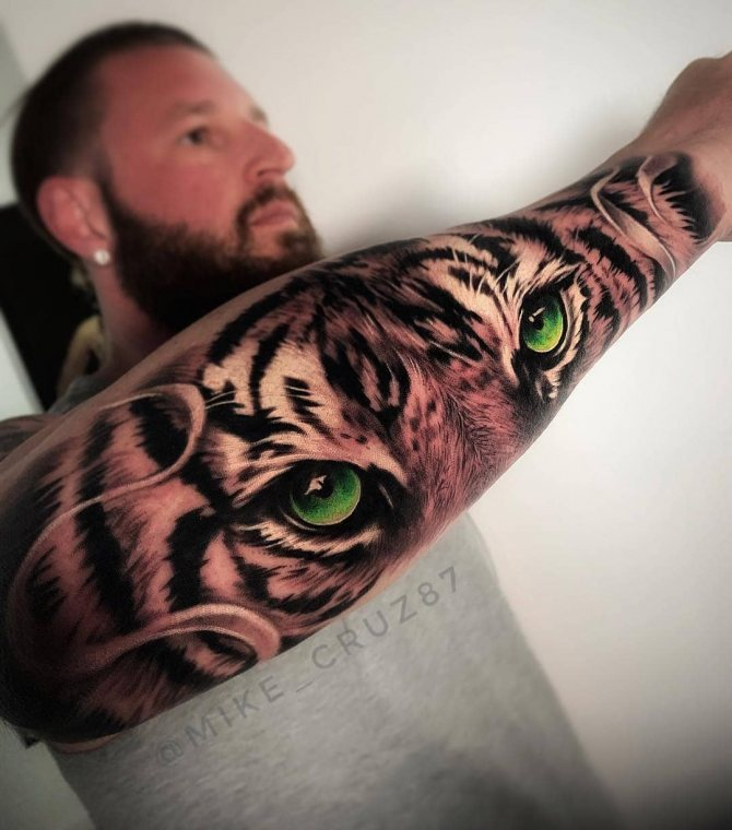 Тату Зеленые Глаза Тигра