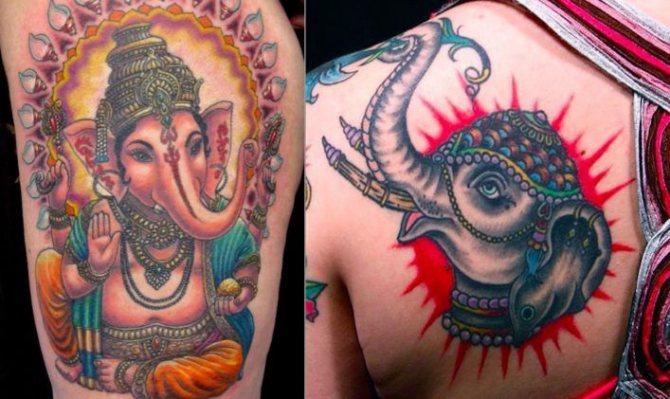 татуировка богатого слона Ганеши, часто изображаемая на шелках и украшениях, уничтожит любые препятствия, которые блокируют ваш путь к процветанию