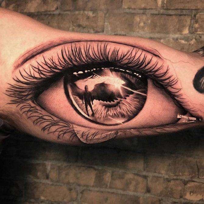 Татуировка Глаз и Ангел для Парней