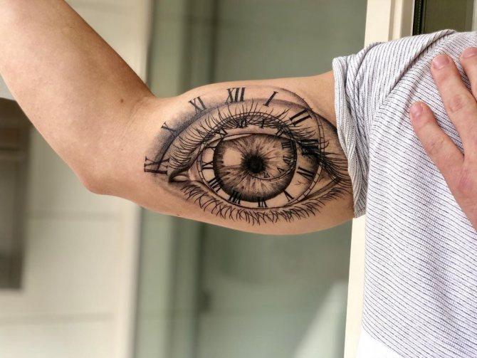 Татуировка Глаз и Часы на Мужской Руке