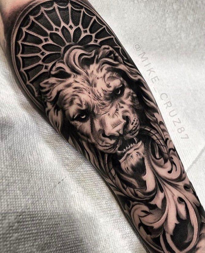 Татуировка Каменной Статуи Льва