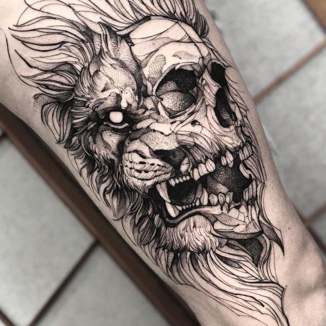 Татуировка Лев и Череп