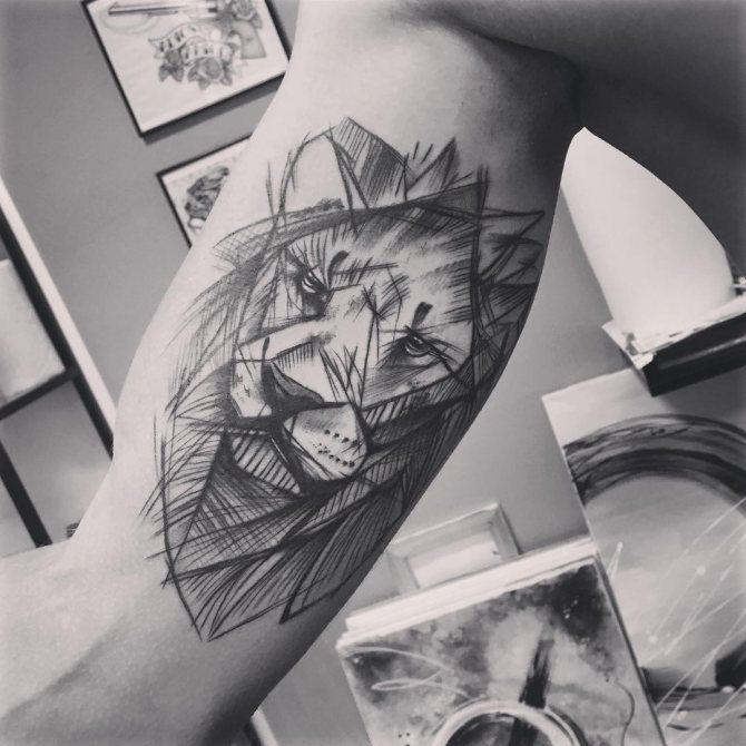 Татуировка Льва на Бицепсе