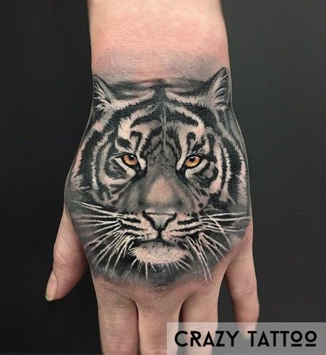 Татуировка на кисти руки, тигр, Crazy Tattoo