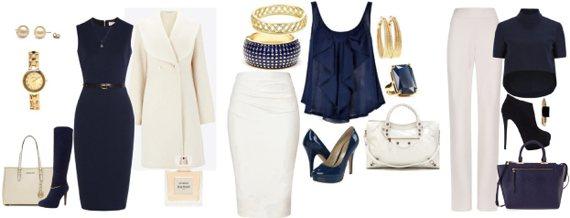 Темно-синий в одежде сочетается с белым