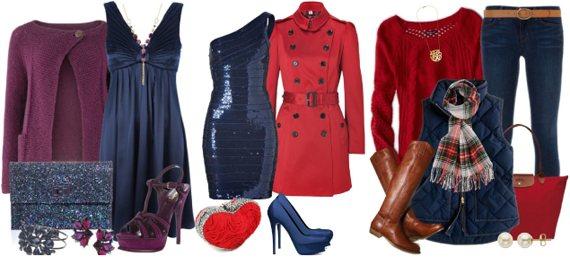 Темно-синий в одежде сочетается с красным